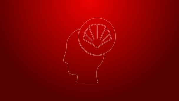 Green line Scallop sea shell icon isolated on red background. Seashell sign. 4K Video motion graphic animation