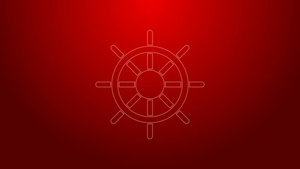 Green line Ship steering wheel icon isolated on red background. 4K Video motion graphic animation