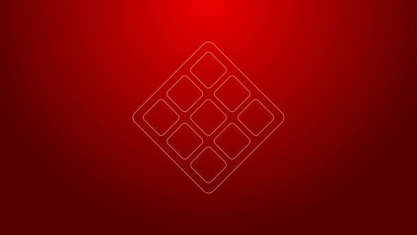 Green line Waffle icon isolated on red background. 4K Video motion graphic animation