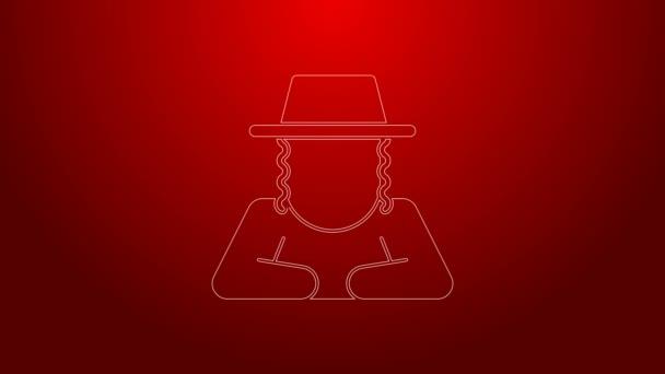 Zöld vonal Ortodox zsidó kalap oldalsó ikon elszigetelt piros háttérrel. Zsidó férfiak hagyományos ruhában. Judaizmus szimbólumok. 4K Videó mozgás grafikus animáció