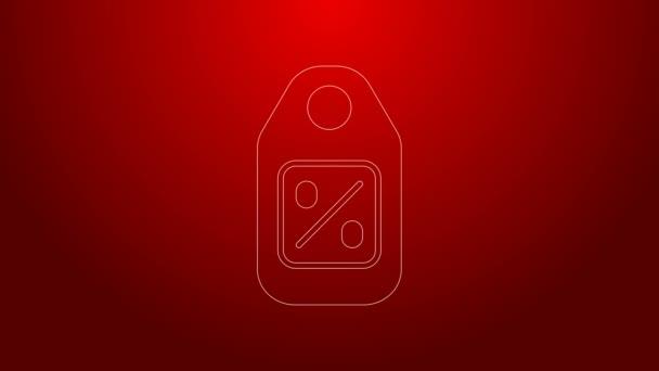 Zöld vonal Árcédula felirattal Eladó ikon elszigetelt piros háttér. A jelvény ára. Promo tag kedvezmény. 4K Videó mozgás grafikus animáció