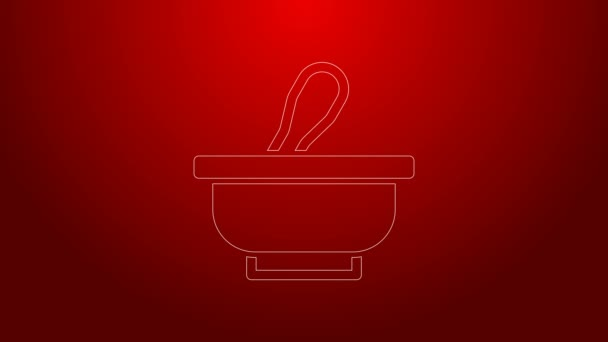 Green line Mortar and pestle icon isolated on red background. 4K Video motion graphic animation