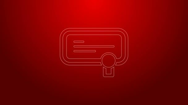 Ikona zelené čáry Certifikátu izolovaná na červeném pozadí. Úspěch, ocenění, titul, grant, diplomové koncepty. Grafická animace pohybu videa 4K