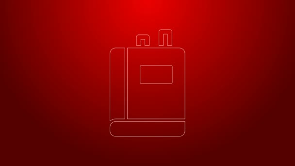 Green line Book icon isolated on red background. 4K Video motion graphic animation