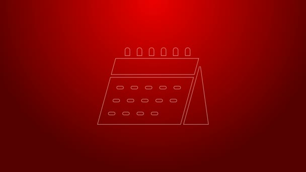 Ikona kalendáře zelené čáry izolovaná na červeném pozadí. Symbol připomenutí události. Grafická animace pohybu videa 4K