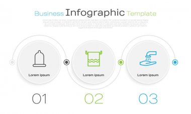 Set line Condom, Towel a hanger and Washing hands with soap. Business infographic template. Vector. icon