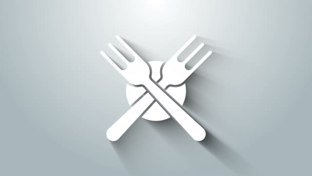 White Crossed fork icon isolated on grey background. Cutlery symbol. 4K Video motion graphic animation
