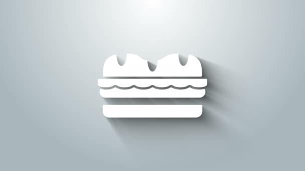 Bílý sendvič ikona izolované na šedém pozadí. Ikona hamburgeru. Symbol Burger Food. Cheeseburger. Pouliční fast food menu. Grafická animace pohybu videa 4K