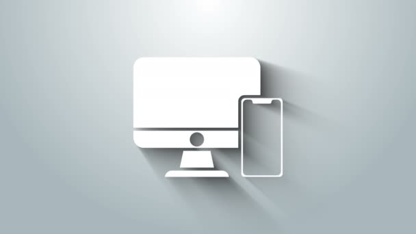 White Computer monitor and mobile phone icon isolated on grey background. Earnings in the Internet, marketing. 4K Video motion graphic animation
