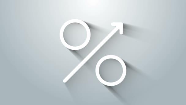 White Percent Pfeil nach oben Symbol isoliert auf grauem Hintergrund. Steigende Prozentzahlen. 4K Video Motion Grafik Animation