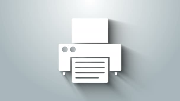 Weißes Druckersymbol isoliert auf grauem Hintergrund. 4K Video Motion Grafik Animation