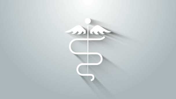 White Caduceus snake medical symbol icon isolated on grey background. Medicine and health care. Emblem for drugstore or medicine, pharmacy. 4K Video motion graphic animation