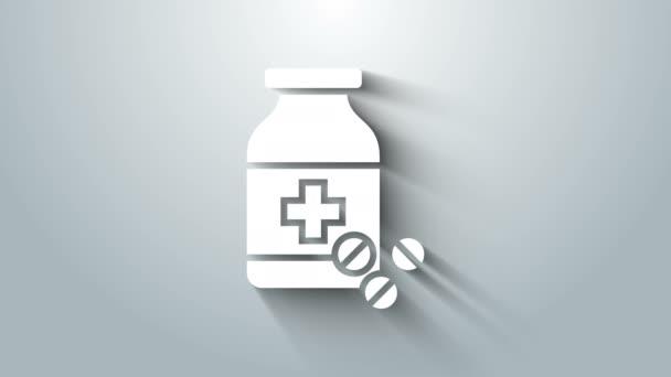 Weiße Medizin-Flasche und Pillen-Symbol isoliert auf grauem Hintergrund. Flaschentablettenschild. Apothekendesign. 4K Video Motion Grafik Animation