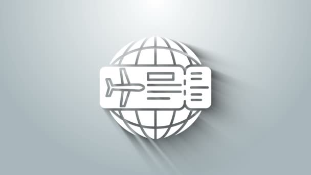 White Airline ticket icon isolated on grey background. Plane ticket. 4K Video motion graphic animation