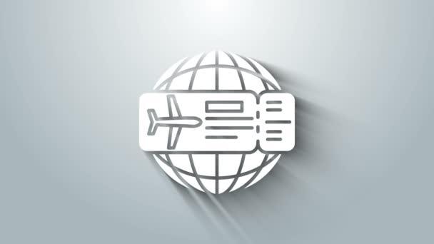 White Airline jegy ikon elszigetelt szürke háttér. Repülőjegy. 4K Videó mozgás grafikus animáció