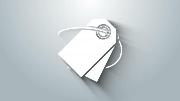 Fehér Üres címke sablon ár címke ikon elszigetelt szürke háttér. Üres vásárlási kedvezmény matrica. Sablon kedvezményes banner. 4K Videó mozgás grafikus animáció
