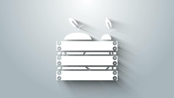 Bílá krabice pro ovoce a zeleninu ikona izolované na šedém pozadí. Grafická animace pohybu videa 4K