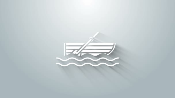 White Fishing boat with oars on water icon isolated on grey background. 4K Video motion graphic animation