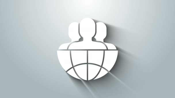 Weiße Weltkugel und Menschen auf grauem Hintergrund. Weltwirtschaftssymbole. Symbol des sozialen Netzwerks. 4K Video Motion Grafik Animation