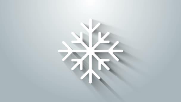 Fehér Hópihe ikon elszigetelt szürke háttér. 4K Videó mozgás grafikus animáció