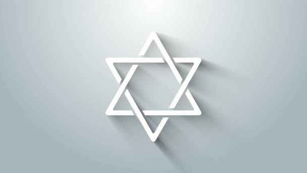 White Star of David icon isolated on grey background. Jewish religion symbol. Symbol of Israel. 4K Video motion graphic animation