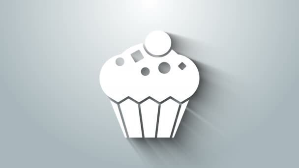 White Muffin icon isolated on grey background. 4K Video motion graphic animation
