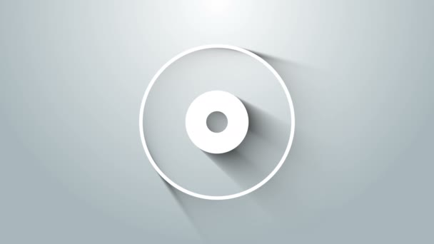 White CD or DVD disk icon isolated on grey background. Compact disc sign. 4K Video motion graphic animation
