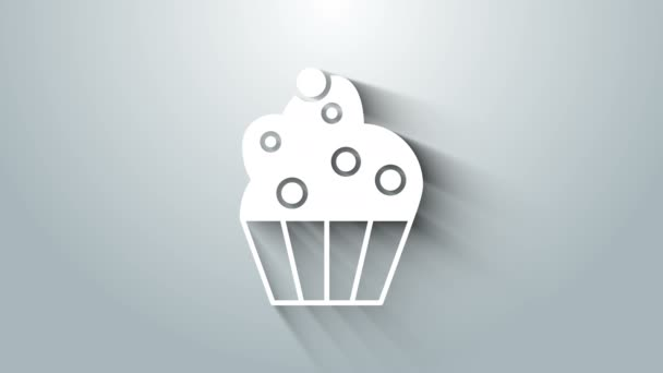 White Cupcake icon isolated on grey background. 4K Video motion graphic animation