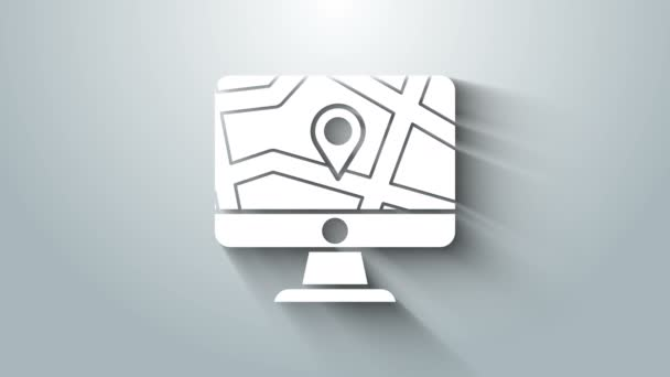 White Computer monitor and folded map with location marker icon isolated on grey background. 4K Video motion graphic animation