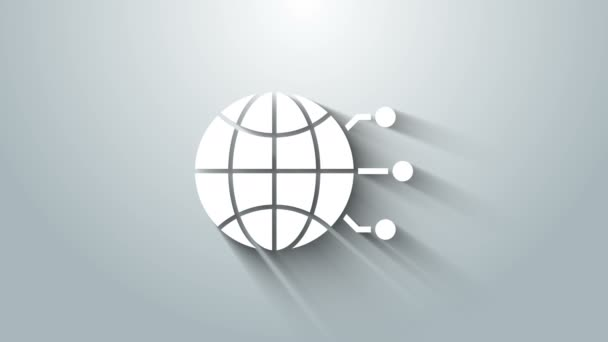 Weiße Globale Technologie oder soziales Netzwerk Ikone isoliert auf grauem Hintergrund. 4K Video Motion Grafik Animation