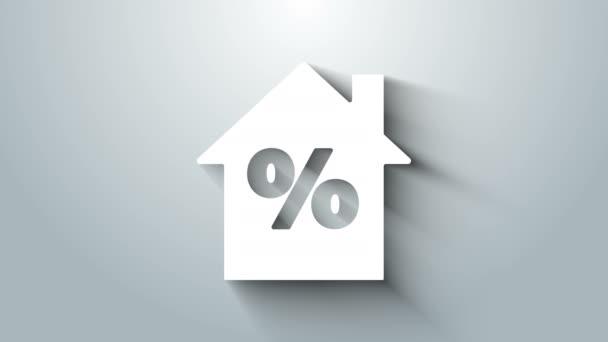 Fehér Ház percant kedvezmény tag ikon elszigetelt szürke háttér. A ház százalékos ára. Ingatlanközvetítő. 4K Videó mozgás grafikus animáció