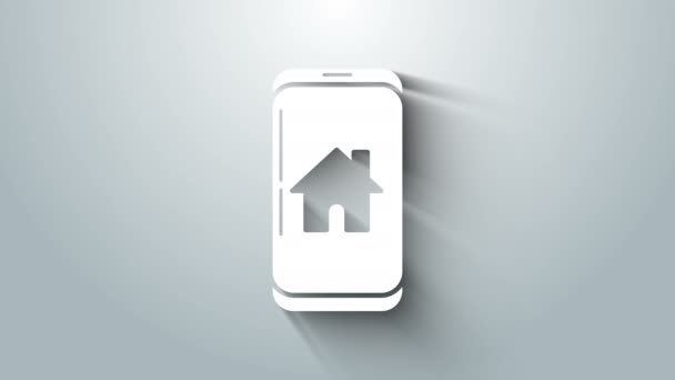 White Mobile phone with smart home icon isolated on grey background. Remote control. 4K Video motion graphic animation