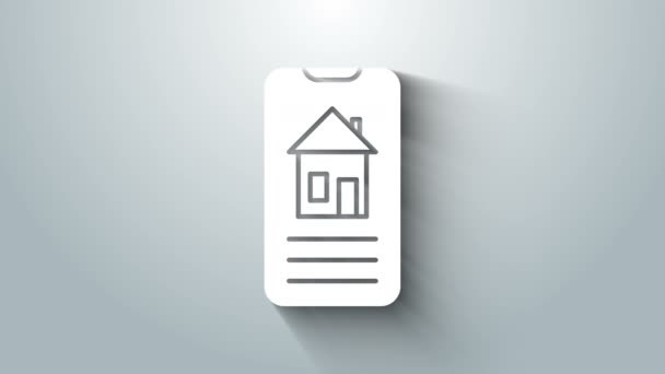 White Smart home icon isolated on grey background. Remote control. 4K Video motion graphic animation