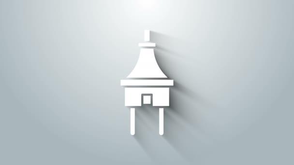 White Electric plug ikona izolované na šedém pozadí. Pojem připojení a odpojení elektrické energie. Grafická animace pohybu videa 4K