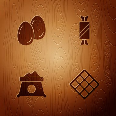 Set Waffle, Easter eggs, Bag of flour and Candy on wooden background. Vector. icon