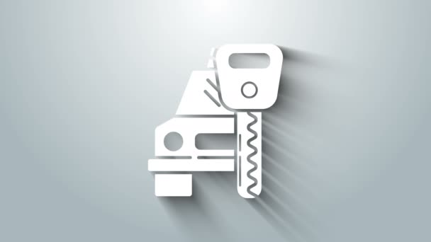 White Car rental icon isolated on grey background. Rent a car sign. Key with car. Concept for automobile repair service. 4K Video motion graphic animation