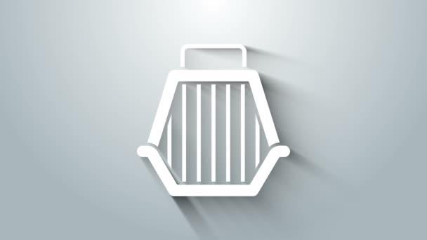 Bílá ikona pouzdra na mazlíčky izolovaná na šedém pozadí. Nosič pro zvířata, psy a kočky. Kontejner pro zvířata. Krabice na přepravu zvířat. Grafická animace pohybu videa 4K