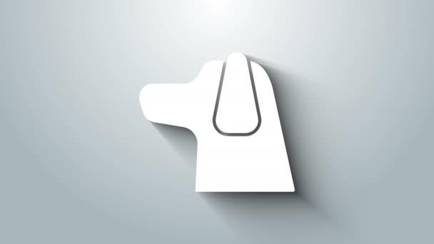 Fehér Kutya ikon elszigetelt szürke háttér. 4K Videó mozgás grafikus animáció