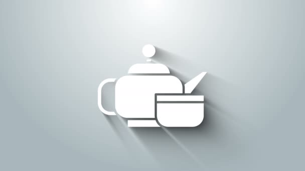 White Traditional Japanese tea ceremony icon isolated on grey background. Teapot with cup. 4K Video motion graphic animation