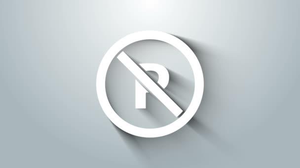 Bílá bez parkování nebo zastavení ikona izolované na šedém pozadí. Pouliční značka. Grafická animace pohybu videa 4K