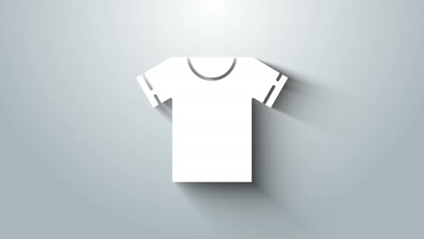 White T-shirt icon isolated on grey background. 4K Video motion graphic animation
