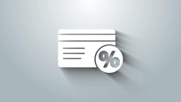 Fehér Kedvezmény kártya százalékos ikon elszigetelt szürke alapon. Hűségpont kártya. 4K Videó mozgás grafikus animáció