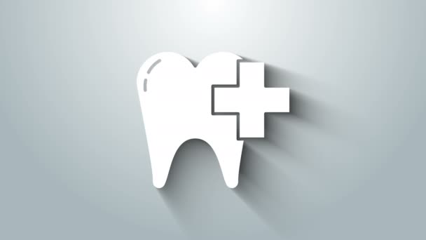 White Dental clinic for dental care tooth icon isolated on grey background. 4K Video motion graphic animation