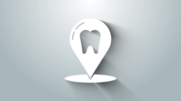 White Dental clinic location icon isolated on grey background. 4K Video motion graphic animation