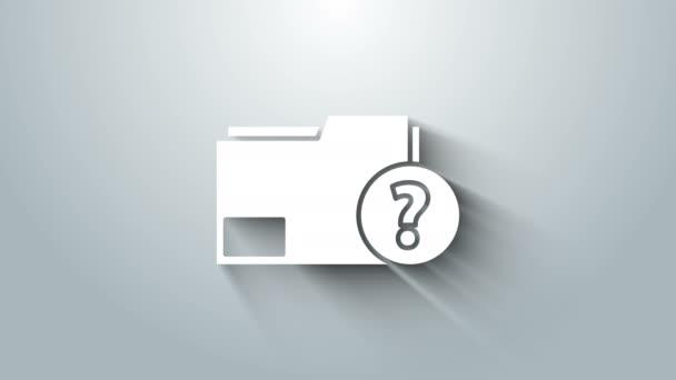 Bílá ikona Neznámá složka dokumentu izolovaná na šedém pozadí. Soubor s otazníkem. Podržte hlášení, službu a globální vyhledávací značku. Grafická animace pohybu videa 4K