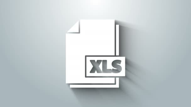 White XLS file document. Download xls button icon isolated on grey background. Excel file symbol. 4K Video motion graphic animation