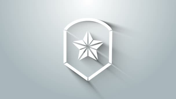 White Police badge icon isolated on grey background. Sheriff badge sign. Shield with star symbol. 4K Video motion graphic animation
