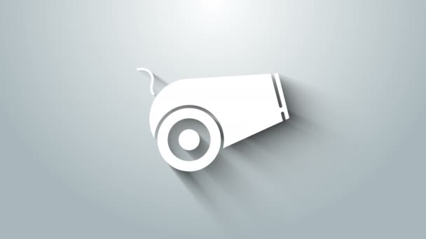 White Cannon icon isolated on grey background. Medieval weapons. 4K Video motion graphic animation