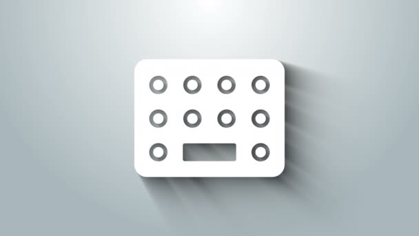 Weiße Pillen im Blisterverpackungssymbol isoliert auf grauem Hintergrund. Medikamentenpaket für Tabletten, Vitamine, Antibiotika, Aspirin. 4K Video Motion Grafik Animation
