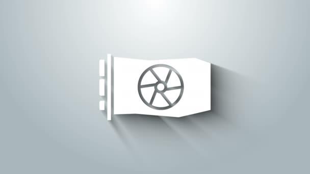 Fehér Video grafikus kártya ikon elszigetelt szürke háttér. 4K Videó mozgás grafikus animáció